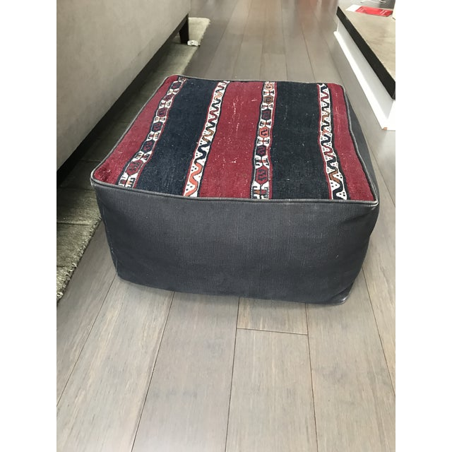 Bohemian Canvas Pouf Ottoman - Image 2 of 4