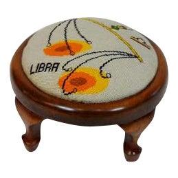 1960s Mod Libra Needlepoint Footstool