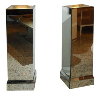 Beautiful French Art Deco Mirrored Pedestals Lights - A Pair