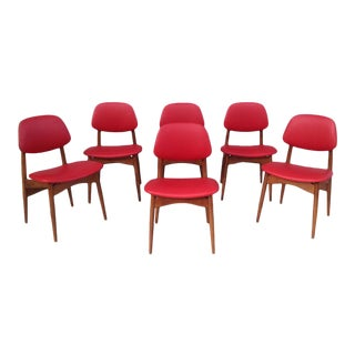 Fine Italian 1950's Leather Chairs - Set of 6