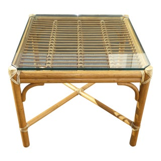 McGuire Rattan Bamboo End Table