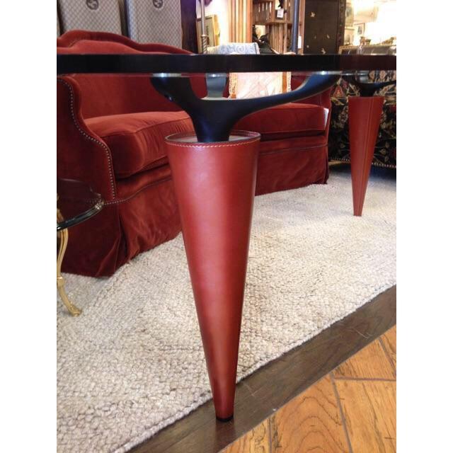 1991 Isao Hosoe for Cassina Italia 'Oskar in Red Leather' Table - Image 5 of 7