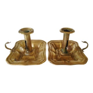 Brass Bedchamber Candlesticks - a Pair