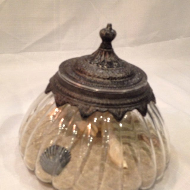 Image of Scalloped Estate Jar with Sand and Shells