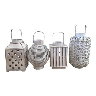 Shabby Chic White Wooden Lanterns - Set of 4