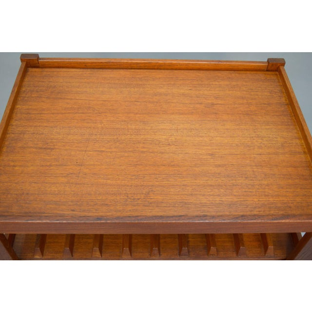 Mid-Century Teak Bar Cart With Reversible Serving Tray - Image 9 of 10