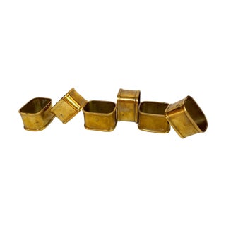 Solid Brass Square Napkin Rings - Set of 6