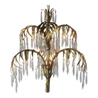 Vintage Italian Gold-Leaf & Crystal Chandelier