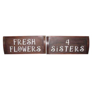 Wooden Fresh Flowers Vender Signs - A Pair
