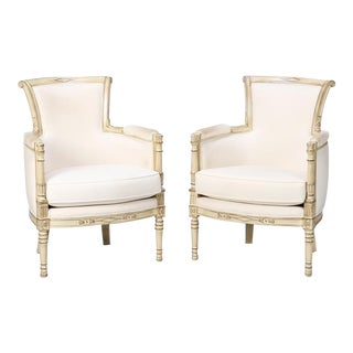 Pair Louis XVI Style White Painted Bergeres