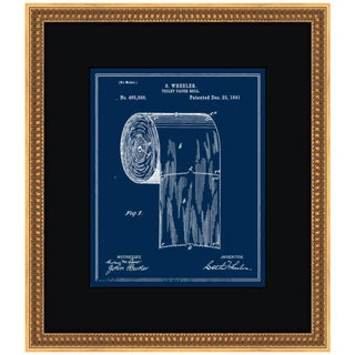 1891 Vintage Toilet-Paper Roll Blueprint Gold Framed Art Print