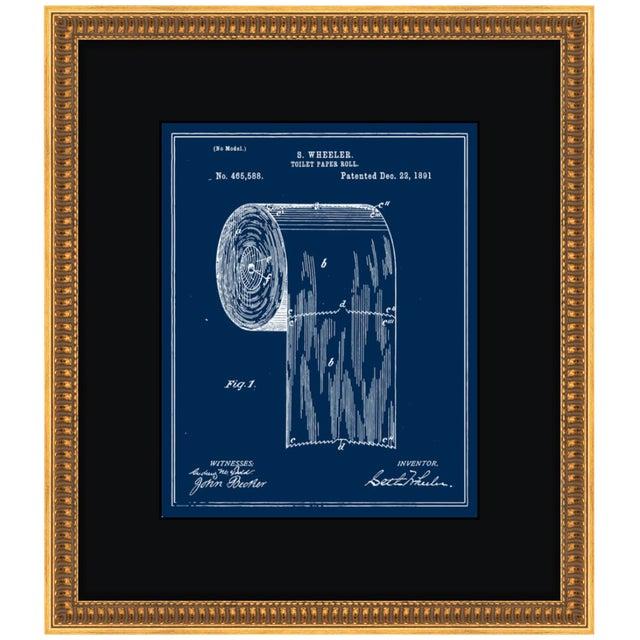 Image of 1891 Vintage Toilet-Paper Roll Blueprint Gold Framed Art Print