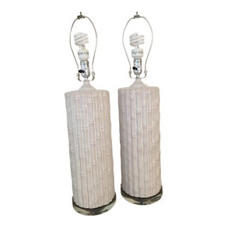 Clive Daniels Ceramic Bamboo Table Lamps- A Pair