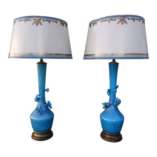 Handblown Turquoise Rose Murano Glass Lamps - A Pair