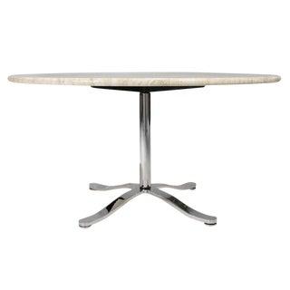 Nicos Zographos Travertine & Chromium Steel Pedestal Table
