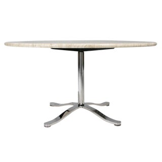 Nicos Zographos Travertine & Chromium Steel Pedestal Table