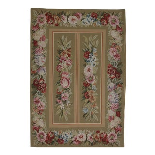 French Aubusson Design Hand Woven Floral Wool Rug - 4' X 6'