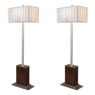 Walnut and Brushed Aluminum Floor Lamps - Pair