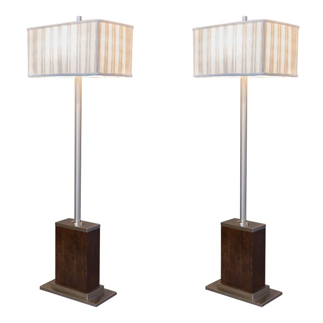 Walnut and Brushed Aluminum Floor Lamps - Pair - Image 1 of 6