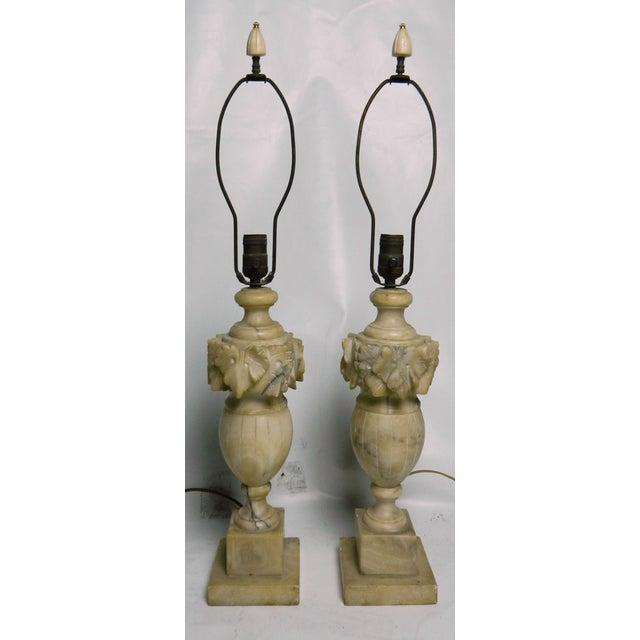 Image of Vintage Alabaster Urn Lamps - A Pair