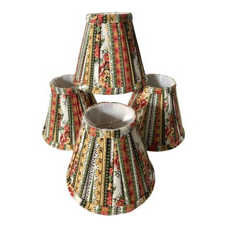 Custom Striped Floral Chandelier Shades - Set of 4