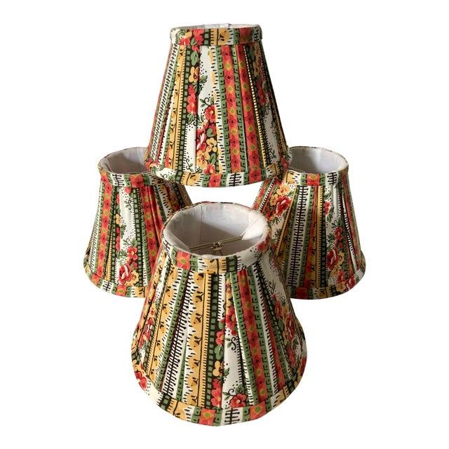 Custom Striped Floral Chandelier Shades - Set of 4 - Image 1 of 5