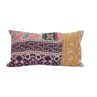 Kantha Quilt Mixed Print Pillow