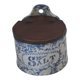 Unusual Lidded 19th Century Sponge Ware Salt Crock