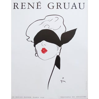 1980s French Rene Gruau Fashion Makeup Ad