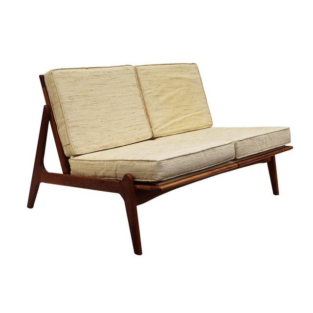 Danish modern walnut frame slipper settee chairish for Danish modern settee
