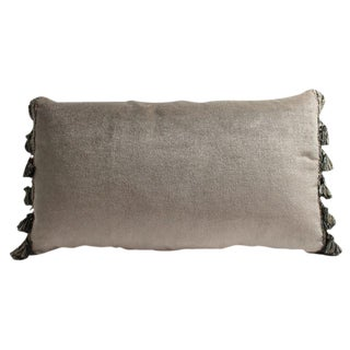 Taupe Mohair With Tassel Fringe Lumbar Accent Pillow Cover