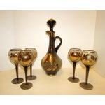 Image of Mid-Century Bohemian Glass Wine Decanter Set