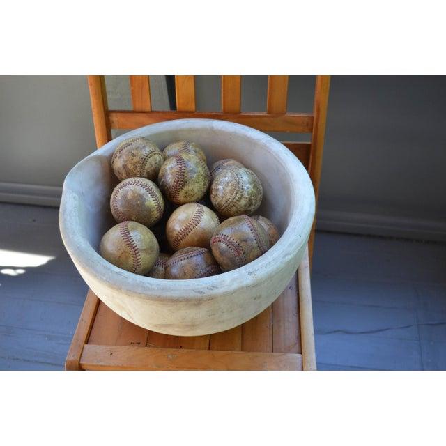 Antique Stone Mortar Bowl & 18 Antique Baseballs - Image 4 of 4