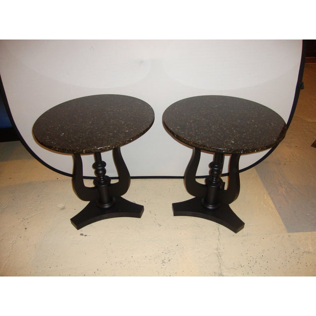 Image of Art Deco Ebony Based End Tables - A Pair