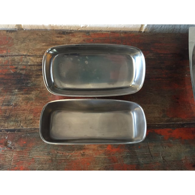 Danish Modern Stainless Butter Dish & Tray - Image 7 of 8
