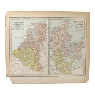 Antique Map of Holland, Belgium, Denmark, Sweden, & Norway C. 1880