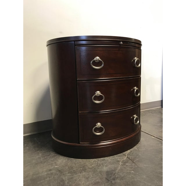 Contemporary Oval Mahogany 3-Drawer Bachelor Chest - Image 8 of 11
