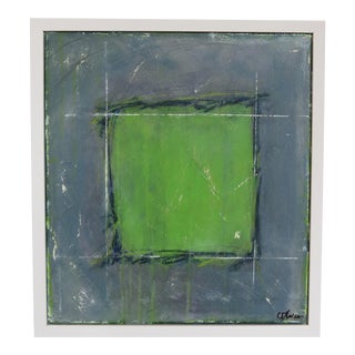 2017 Offset Square III Chartreuse Original Oil Painting