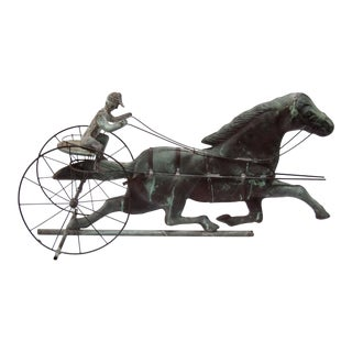 Sulky, Horse & Jockey Copper Weathervane
