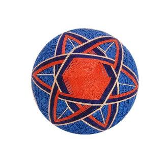Temari Ball - Blue & Orange Geometric Flower