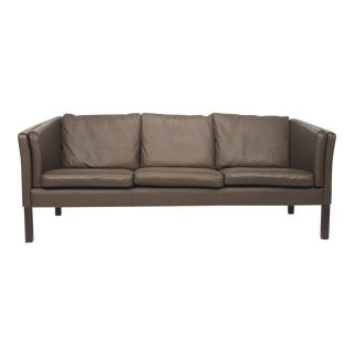 Vintage Danish Chocolate Leather 3-Seat Sofa