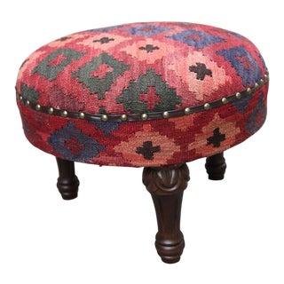 Vintage Handmade Kilim Round Foot Stools / Ottoman