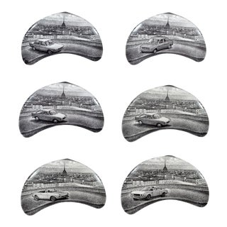 Piero Fornasetti Demilune Porcelain Dishes With Vintage Fiat and the City of Turin - Set of 6