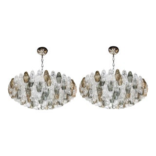 Pair of Spectacular Handblown Murano Glass Polyhedral Chandeliers by Venini