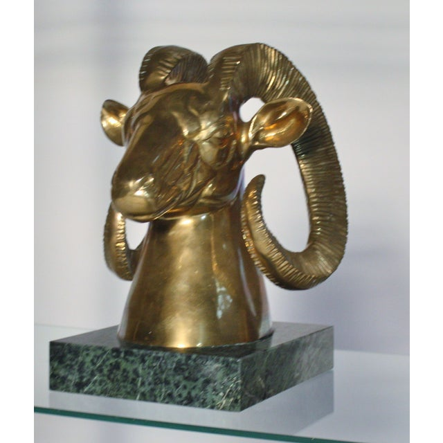 Brass Ram Bust On Marble Plinth - Image 3 of 5