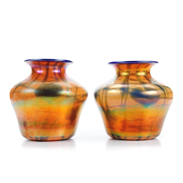 Imperial Art Glass Heart & Vine Decor Vases- A Pair - Image 2 of 9