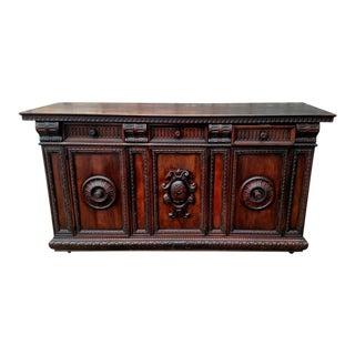 19th C. Renaissance Revival Figural Carved 3 Door Sideboard Server