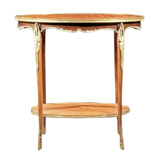 French Parquetry & Bronze Side Table