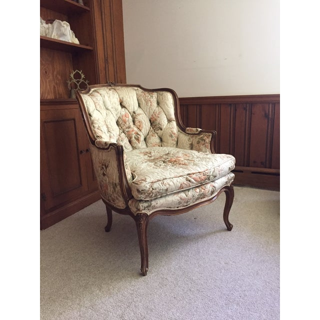 French Country Louis XV Style Carved Walnut Silk Settee & Chair - A Pair - Image 7 of 11