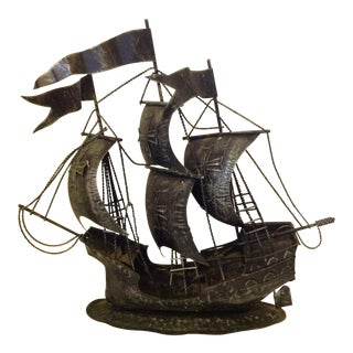 Mid Century Modern Metal Ship Sculpture